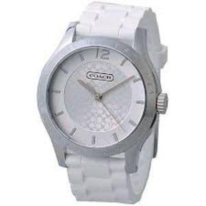 Coach Maddy Silvertone & White Silicone Watch